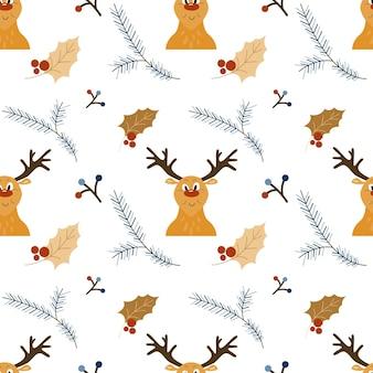 Reticolo senza giunte di natale con testa di renna del fumetto e decorazione di agrifoglio holiday vector texture