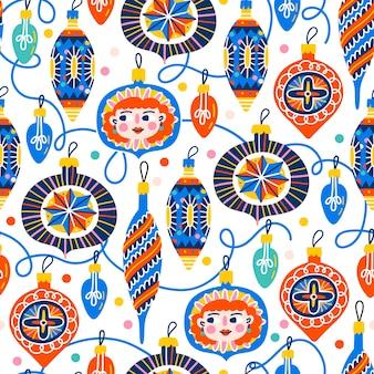 Natale seamless pattern con decorazioni per l'albero di natale