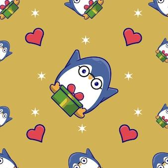 Modello senza cuciture di natale con pinguino carino ricevi un regalo