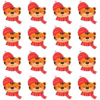 Modello senza cuciture di natale con il concetto di natale e capodanno della tigre carina