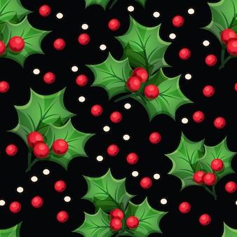 Reticolo senza giunte di natale con elementi decorativi: foglie verdi, bacche rosse su sfondo nero
