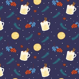 Natale seamless pattern con zabaione tazze, rami di abete, fette di arancia e ashberry su blu scuro.