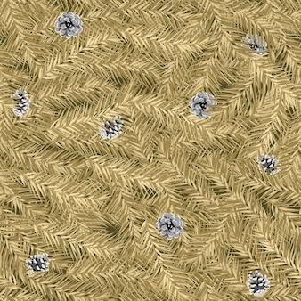 Reticolo senza giunte di natale con sfondo di rami di abete d'oro