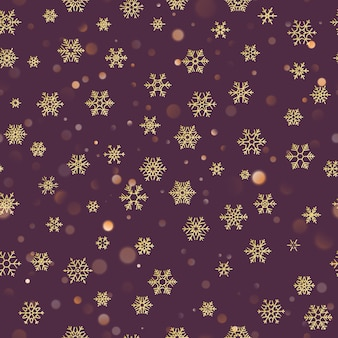 Reticolo senza giunte di natale con i fiocchi di neve dell'oro su priorità bassa pastello viola scuro. holiday design per la decorazione di natale e capodanno.