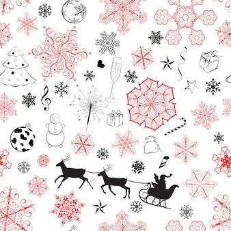 Modello senza cuciture di natale con fiocchi di neve rossi e neri e simboli di natale su sfondo bianco
