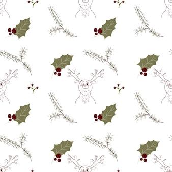 Modello senza cuciture di natale con renne e foglie di agrifoglio invernale e ramo di abete texture ripetizione vacanza