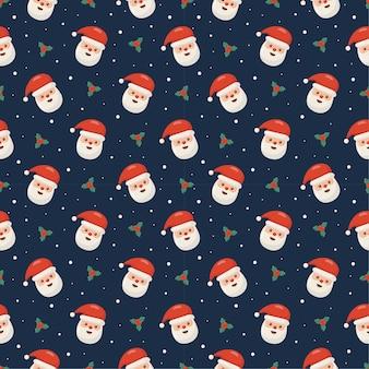 Natale seamless pattern con santa isolato su sfondo blu
