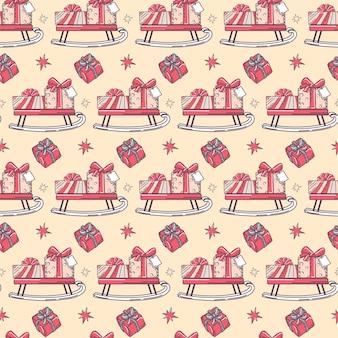 Natale seamless pattern con slitta e regali.