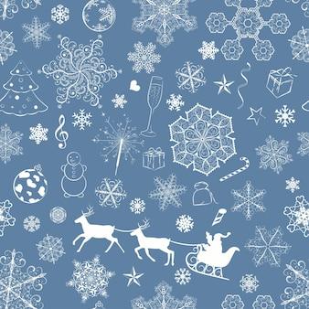 Modello senza cuciture di natale con fiocchi di neve e simboli di natale su sfondo blu scuro