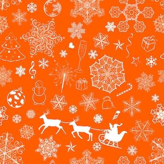 Modello senza cuciture di natale con fiocchi di neve e simboli di natale su sfondo arancione