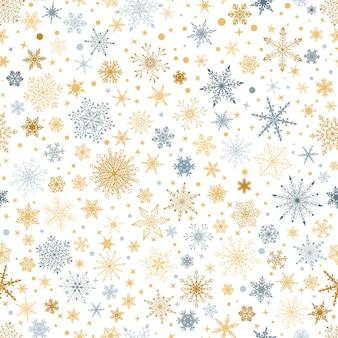 Modello senza cuciture di natale con vari fiocchi di neve grandi e piccoli complessi, grigi e gialli su sfondo bianco