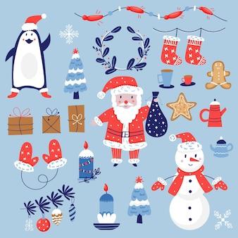 Set natalizio di personaggi e decorazioni. pacchetto di elementi carini per le vacanze di natale. biglietto di auguri per il nuovo anno