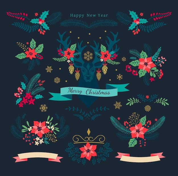 Set di natale. collezione natalizia di fiori rossi decorativi poinsettia e foglie per il tuo design. elementi di disegno floreale. biglietto di auguri di stagione. flora invernale. illustrazione.