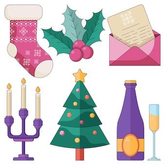 Set natalizio di intimi festeggiamenti a casa con la famiglia