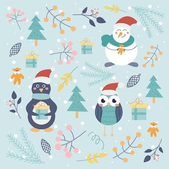 Set natalizio di simpatici personaggi pinguino gufo pupazzo di neve ed elementi decorativi