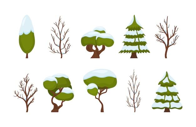 Insieme di natale di alberi verdi isolati su priorità bassa bianca