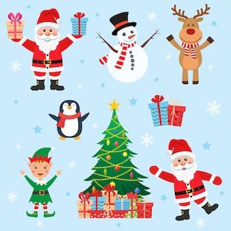 Set natalizio con albero di pupazzo di neve rosso di babbo natale rudolf