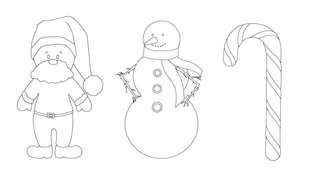 Natale set babbo natale pupazzo di neve caramello canna lineare schizzo doodle