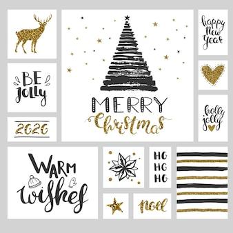 Set natalizio con adesivi e striscioni neri e dorati set vettoriale di illustrazioni natalizie