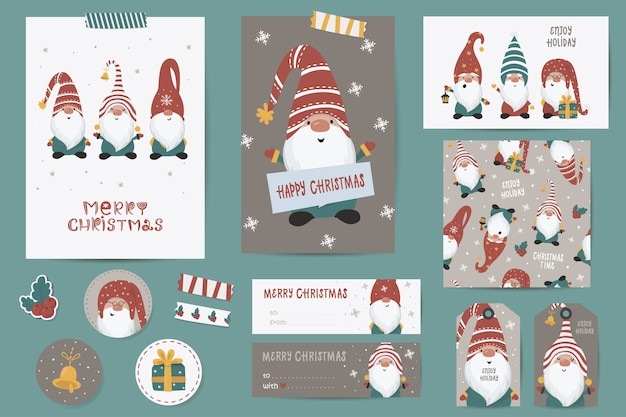 Set di natale con cartoline di natale, note, adesivi, etichette, francobolli, cartellini con illustrazioni di natale invernale, modello di auguri. modelli di carte stampabili.
