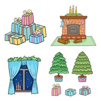 Set natalizio con calzini decorati da caminetto per regali e candele
