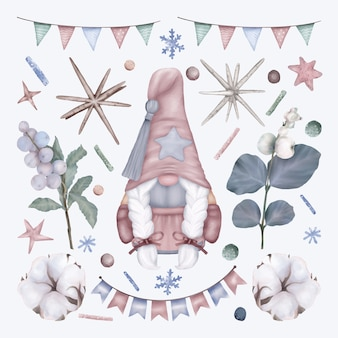 Set di natale con gnome e decorazioni per le vacanze