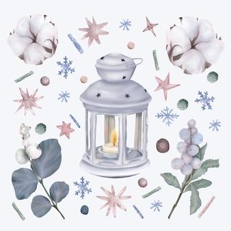 Set di natale con lanterna e fiori di cotone