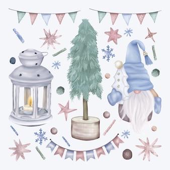Natale impostato con lanterna e gnomo