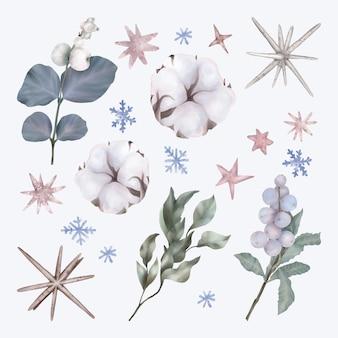 Set di natale con foglie e fiori di cotone