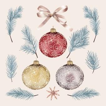 Natale impostato con rami di pino e palle
