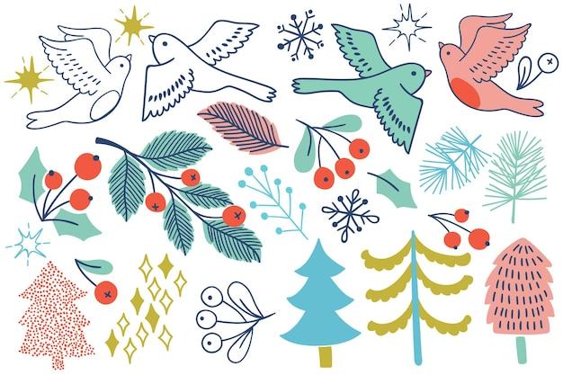 Set natalizio con albero, uccelli, barrys. icone di vacanza vettoriale