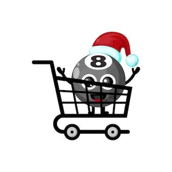 Lo shopping natalizio palla da biliardo simpatico personaggio logo