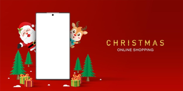 Shopping natalizio online sul concetto di smartphone, smartphone con schermo vuoto con babbo natale e renne, buon natale