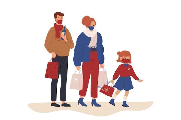 Scena dello shopping natalizio - indossare maschere