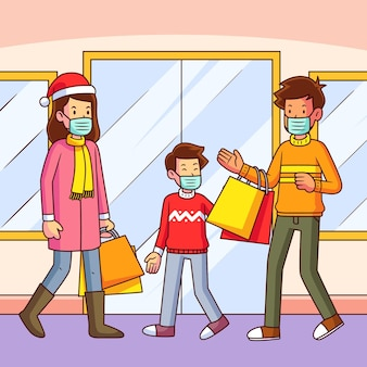 Scena dello shopping natalizio con la famiglia che indossa maschere