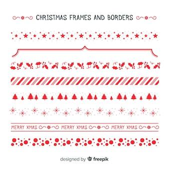 Raccolta semplice di cornici e bordi natalizi