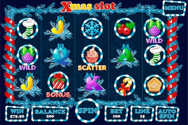 Slot natalizio, interfaccia utente del gioco e icone in colore blu. menu completo per il gioco del casinò. icone e pulsanti