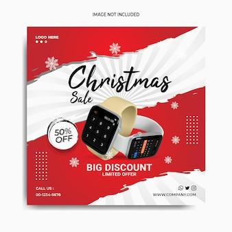 Natale smart watch vendite social media post instagram banner modello gadget promozione