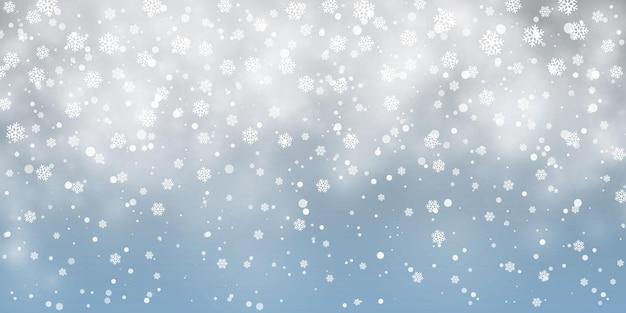 Neve di natale. fiocchi di neve che cadono su sfondo blu. nevicata. illustrazione vettoriale.