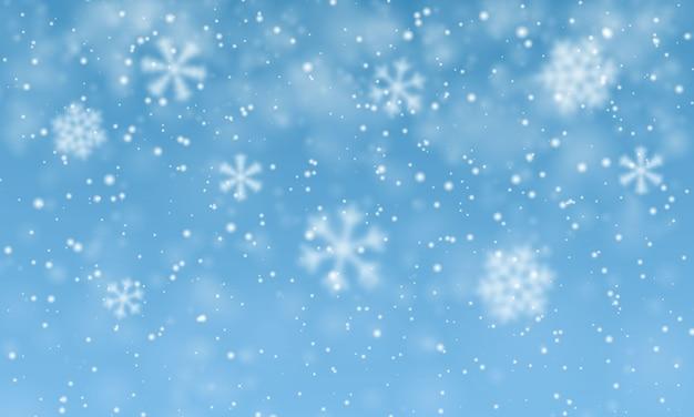 Neve di natale. fiocchi di neve che cadono su sfondo blu. nevicata.