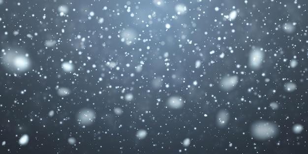 Neve di natale. fiocchi di neve che cadono su sfondo blu scuro. nevicata. illustrazione vettoriale.