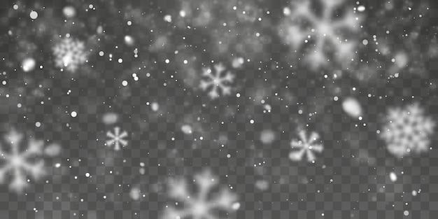 Neve di natale. fiocchi di neve che cadono su sfondo trasparente. nevicata. illustrazione vettoriale.