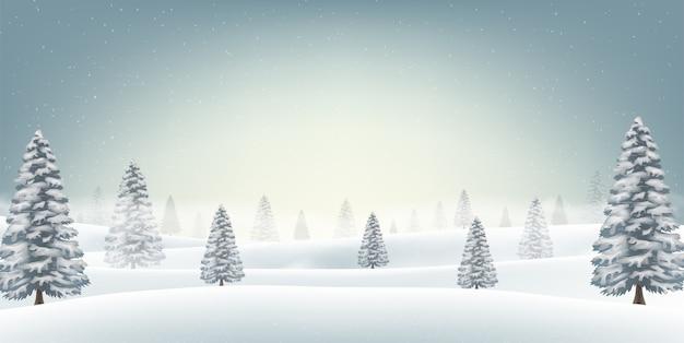 Campo di neve di natale con la priorità bassa dell'albero