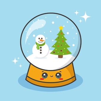 Sfera del globo della neve di natale con il pupazzo di neve e l'albero