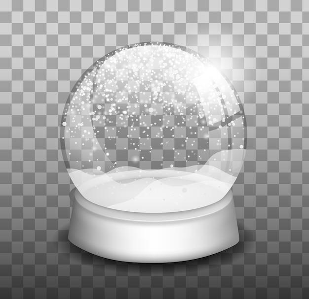 Globo di neve di natale. snowglobe. elemento di design di natale invernale. sfera di vetro.