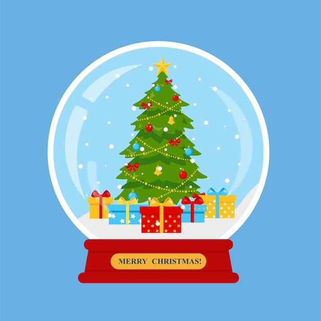 Globo di neve di natale con albero di natale decorato e regali in scatole