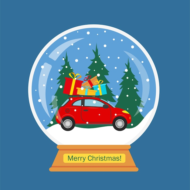 Globo di neve di natale con auto rossa e paesaggio invernale