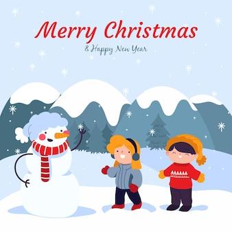 Scena di neve di natale con bambini e pupazzo di neve