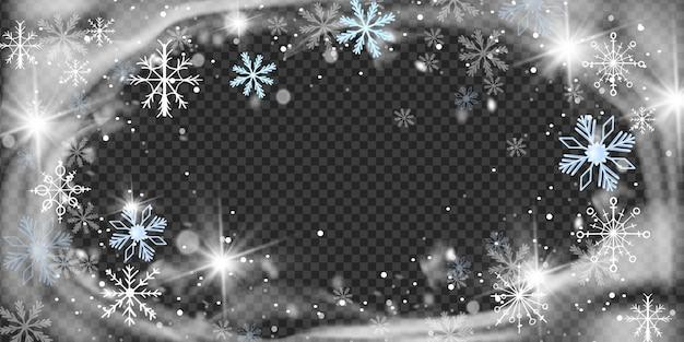 Natale neve vento cerchio cornice fiocchi di neve cristallo gelo confine vettore bufera di neve invernale sfondo