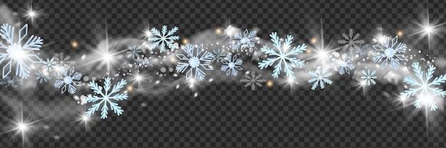 Natale neve vento vettore confine inverno bianco blizzard cornice vacanze fiocchi di neve stella cloud